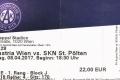 Eintrittskarte FK Austria Wien - SKN St. Pölten