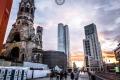 Gedächtniskirche, Upper West und Zoofenster in Berlin im Sonnenuntergang