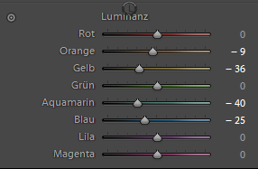 Luminanz bei Adobe Lightroom 6