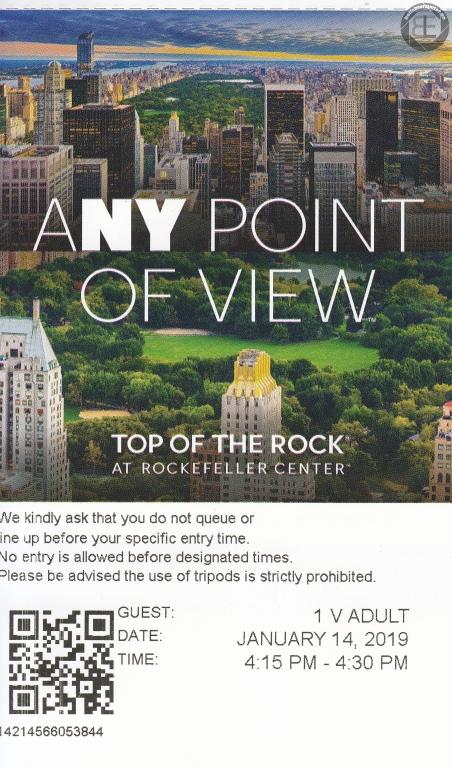 New York City 2019: Eintrittskarte Top of the Rock