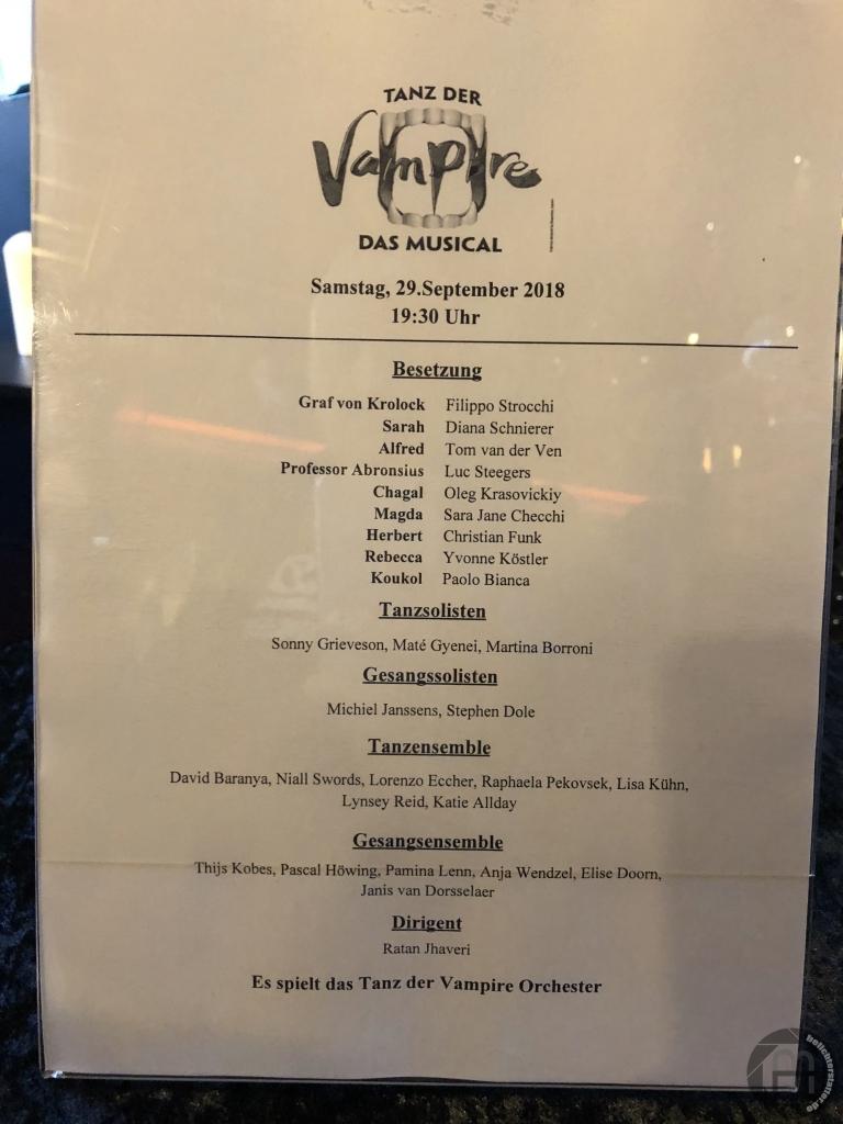 Tanz der Vampire am 29.09.2018 in Köln (Dernière)