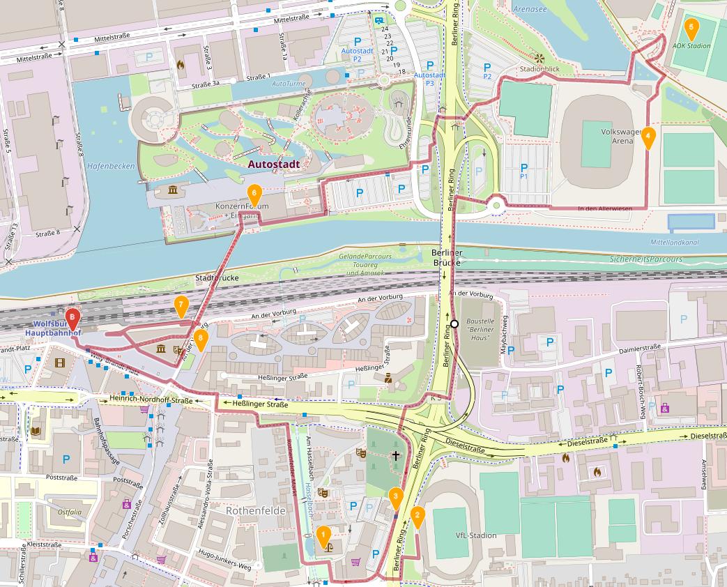 mit openrouteservice.org erstellte Route für Wolfsburg am 26.08.2020