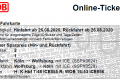 Fahrkarte Köln-Wolfsburg und zurück